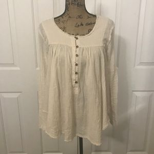 "FREE PEOPLE ""Sand Dune"" Henley, Ivory, Small"